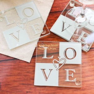 Wedding coaster favor love glass heart-shaped