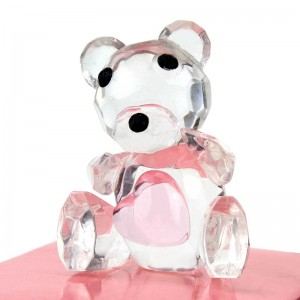 Baby pink crystal ornaments bear birthday party favor
