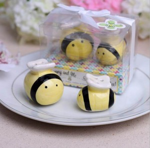 Ceramic Honey Bee Salt & Pepper Shakers Wedding Favor
