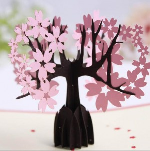 3D greeting cards cherry blossom birthday paper cards