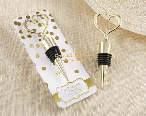 Wedding Favor Heart of Gold Bottle Stopper