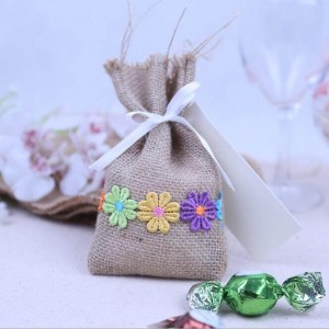 Natural Jute burlap sachet lace gift bags candy bag