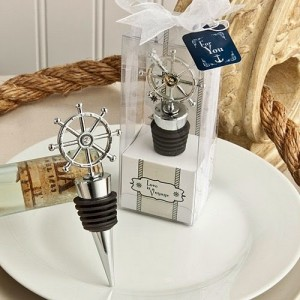 ship's wheel design wine stopper favors