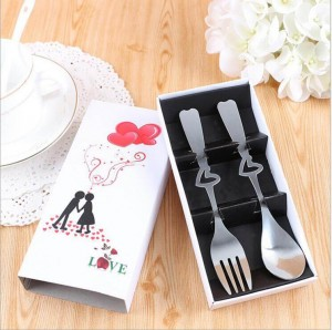Stainless Steel Heart Design Spoon And Fork Set Wedding Favor