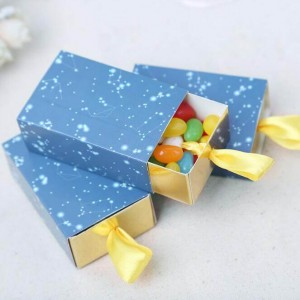 Romantic Blue Starry Sky Map Drawer Wedding Favor Paper Candy Box