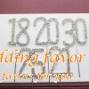 Glittering Silver Rhinestone Number Cake Topper Favors