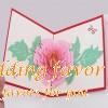 Handmade 3D Pop-up Peony Greeting Postcard Folding Kirigami Card