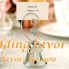 Silver Bell with Heart Charming Place Card Holder