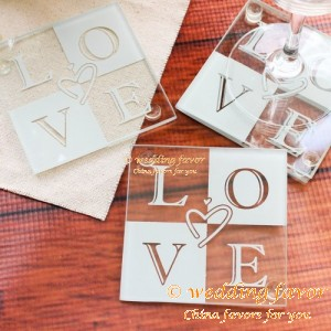 Wedding coaster favor love glass heart-shaped set (set of 2 pcs)
