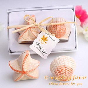 Marine shells and starfish Salt and Pepper ceramic wedding favors