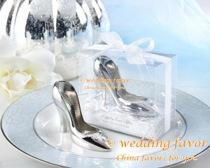 "Chrome ""Happier Ever After"" Slipper Opener Shoe Shape Bottle Opener favor"