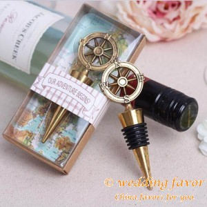 """Our Adventure Begins"" Compass Bottle Stopper Wedding Favor"