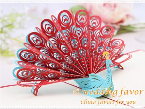 Creative DIY Folding Greeting Card Peacock Invitation Card