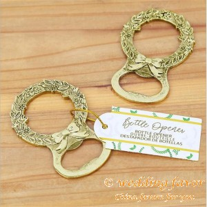 Gold Laurel Bottle Opener Unique Wedding Party Favors