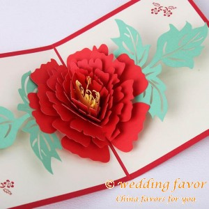 Handmade 3D Pop-up Peony Greeting Postcard Folding Kirigami Card