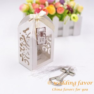 Laser Cut Box Cross Bottle Opener Favor