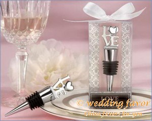 """Love"" Chrome Bottle Stopper Unique Favor for Wedding"