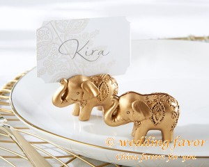 Lucky Golden Elephant Place Card Holder Favor
