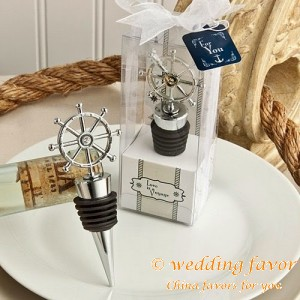 Love cruise ship's wheel design wine stopper favors
