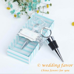 Something blue diamond ring bottle stopper wedding favor