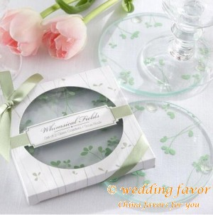 Spring Grass Round Coaster Wedding Favor