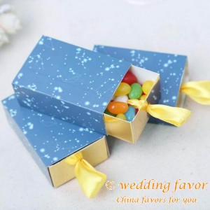 Romantic Blue Starry Sky Map Drawer Wedding Favor Paper Candy Box(100 pcs/set)