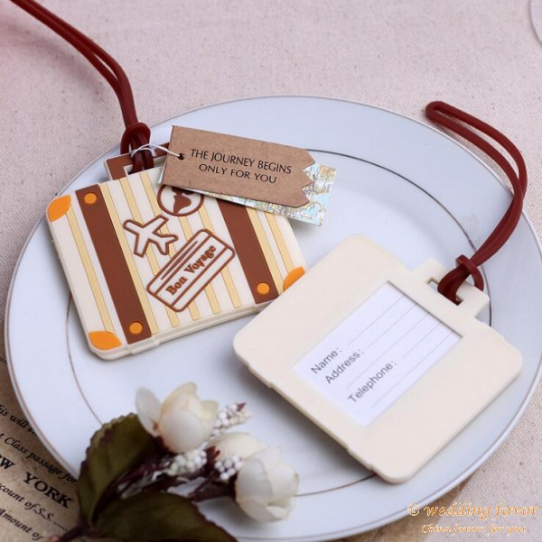 Vintage suitcase luggage tag wedding favor for Wedding favor luggage tags