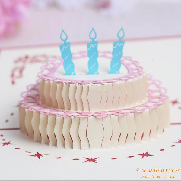 3D Birthday Cake Card Post Cards Greeting Souvenirs Party Favor