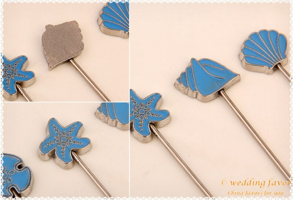 Beach themed seaside picks fruit forks wedding favor