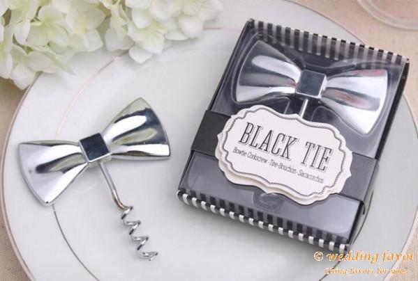 Black Tie bottle opener wedding favors