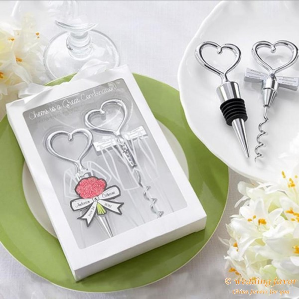 Bride and Groom Heart Wine Stopper and Corkscrew Set Favors