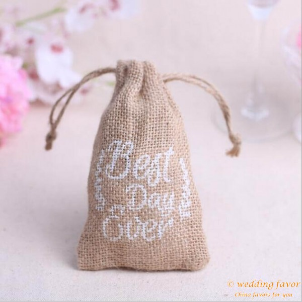 Burlap Wine Bag Candy Bag-Eat, Drink and Be Married