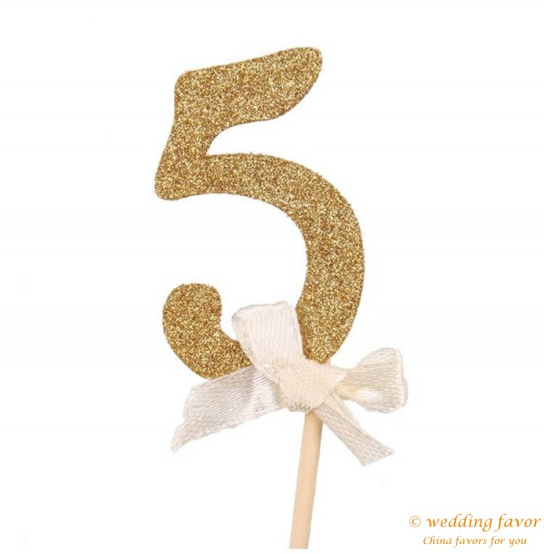 Gold Glitter Cake Topper Number Cupcake Toppers Birthday Party Decorations