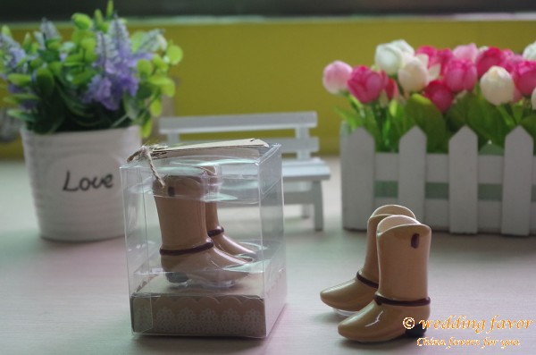 Ceramic Cowboy Boots Salt and Pepper Shakers for Wedding