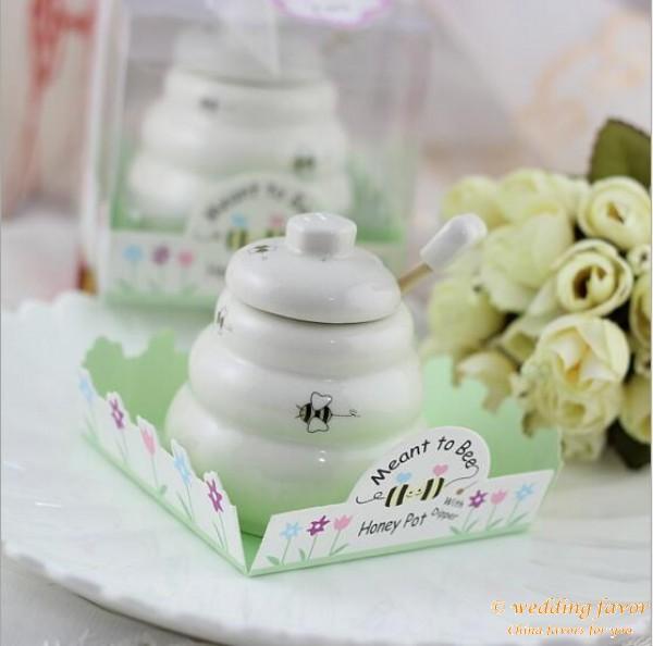 Ceramic Honey Pot favor with dipper