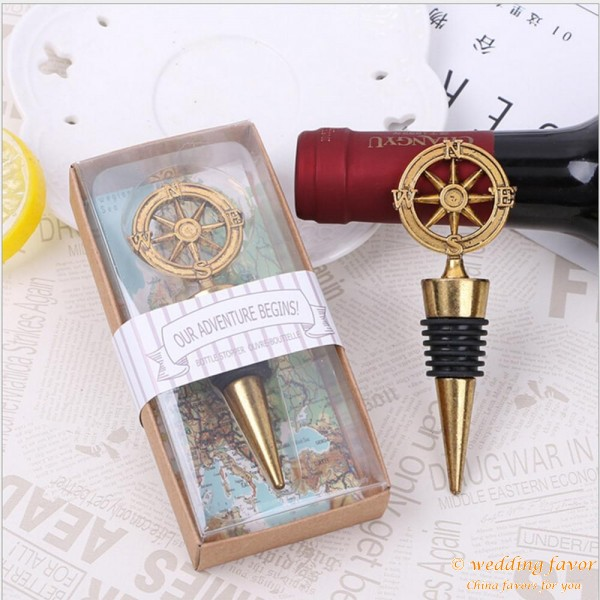 """""""Our Adventure Begins"""" Compass Bottle Stopper"""