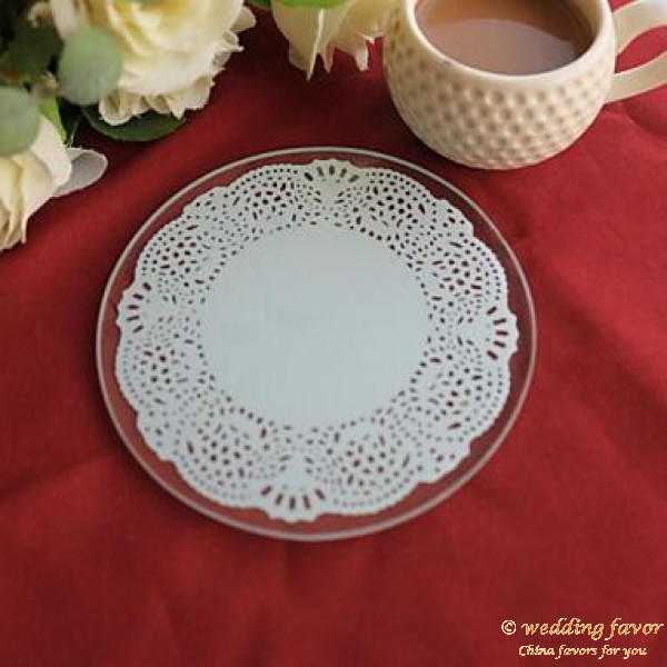 Elegant Lace Round Coaster Wedding Favor