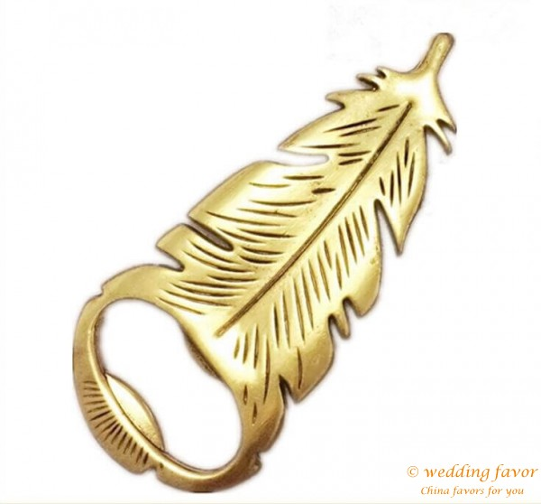 Gilded Antique Gold Peacock Feather Bottle Opener