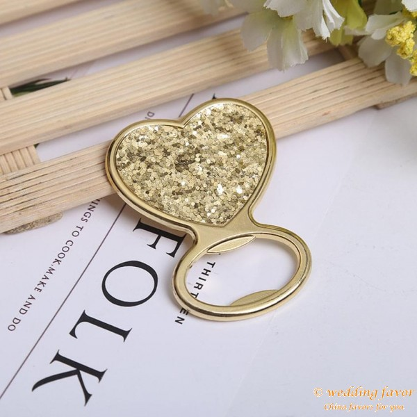 Gold Glitter Heart Bottle Opener Favour Gifts