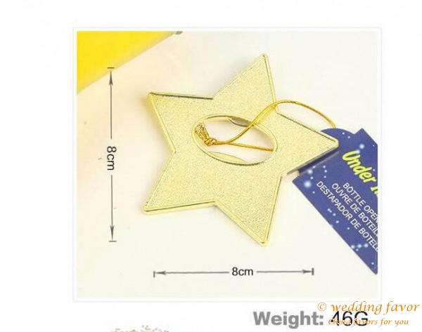 "Gold Star Bottle Opener ""Under The Star' Wedding Favor"