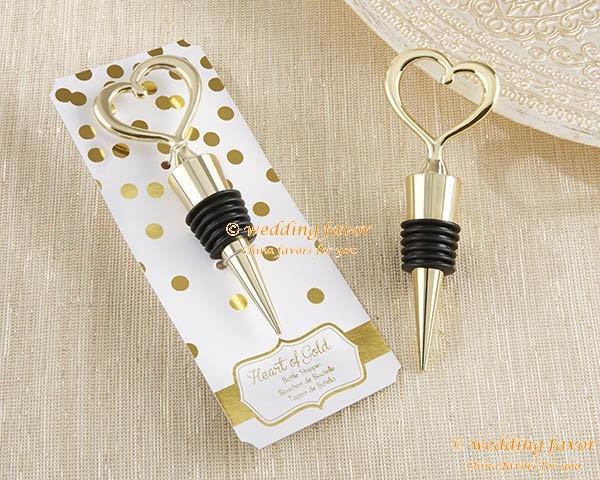 Wedding Favor Heart of Gold Bottle Stopper