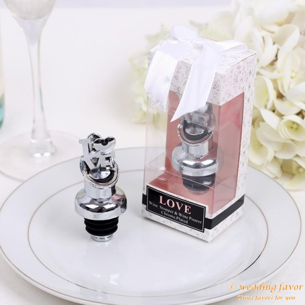 Love Chrome/Pourer Bottle Stopper Favors for Wedding