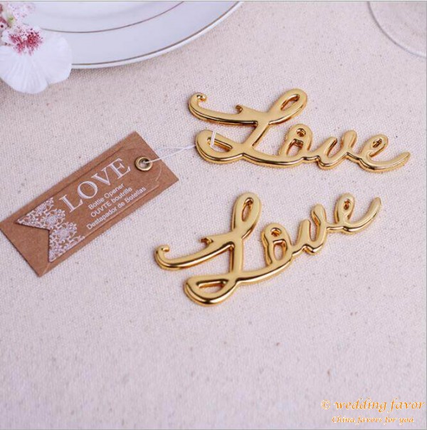 Gold silver LOVE metal beer bottle opener