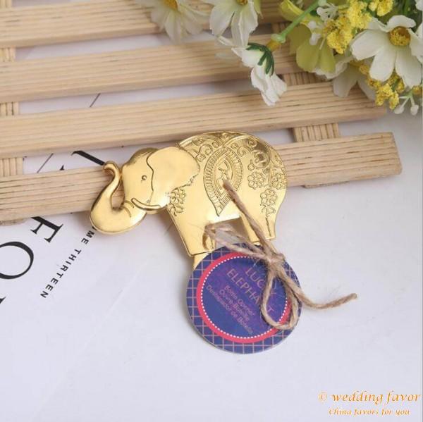 Lucky Golden Elephant Bottle Opener Favor