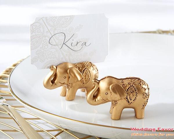 Lucky Golden Elephant Place Card Holder Favor