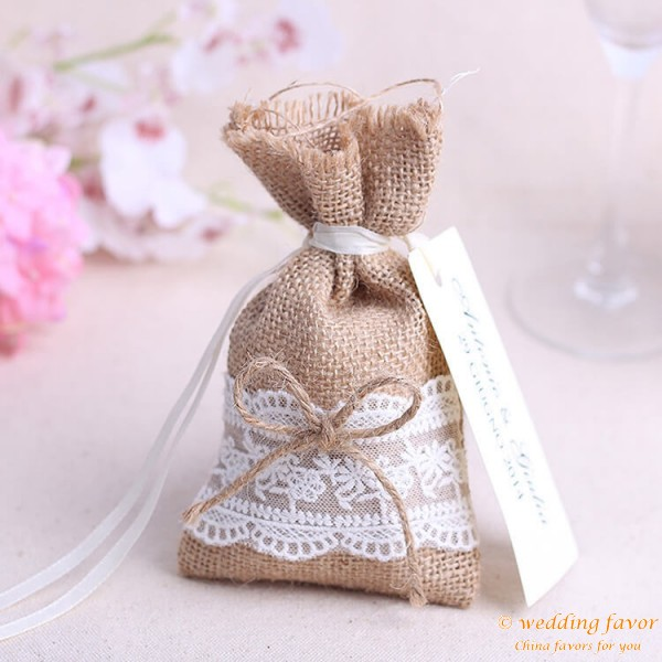 Natural jute burlap candy bags with ribbon