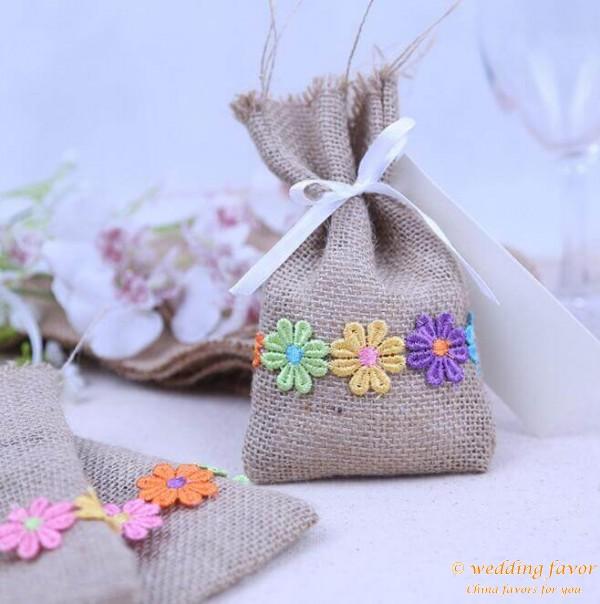 Natural Jute burlap sachet lace gift bags candy bag