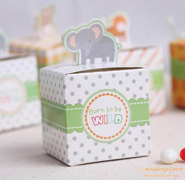 Safari Baby Shower Animal Jungle Favor Box - Born to Be Wild