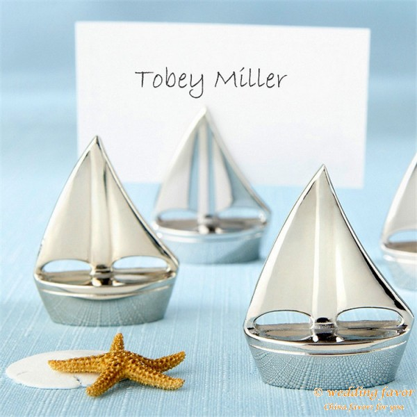 Sailboat Design Place Card Holders Favor Wedding