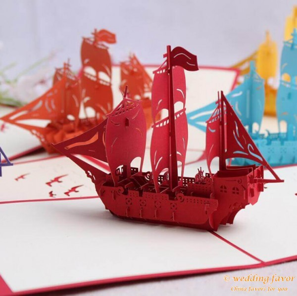 Sailing Boat Handmade 3D Pop UP Greeting Cards
